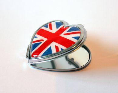 Union Jack heart shape compact