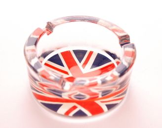 Union jack glass ashtray