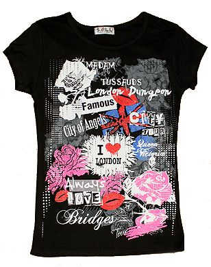 Black London fashion t-shirt