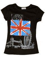 Black union jack and London images fashion t-shirt