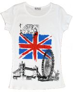 White union jack and London images fashion t-shirt