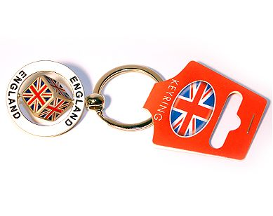 Spinning union jack metal keyring