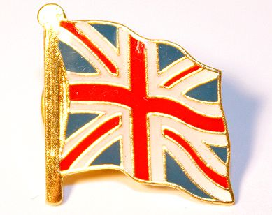 Wavy union jack pin badge