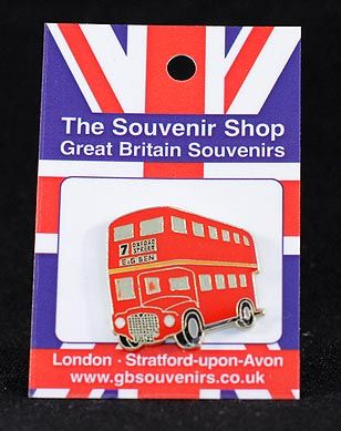 Double decker bus pin badge