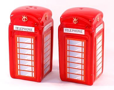 Telephone box cruet set