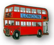 Double decker bus metal fridge magnet
