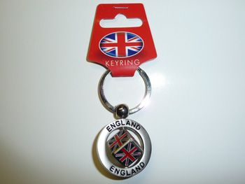 Union jack spinning cube metal keychain