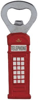 Telephone box bottle opener
